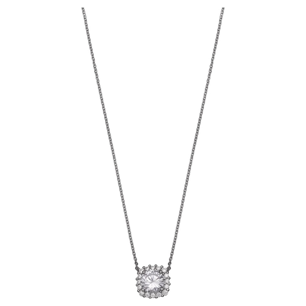 Women S Round Cubic Zirconia In Square Pave Setting Pendant In Sterling Silver Gray 18