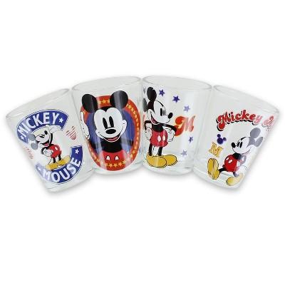 Silver Buffalo Disney Mickey Mouse Vintage Logos 4 Piece Mini Glass Set
