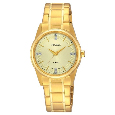Women's Pulsar Solar Gold Tone Watch - Gold Tone with Champagne Dial - PY5004 - image 1 of 1