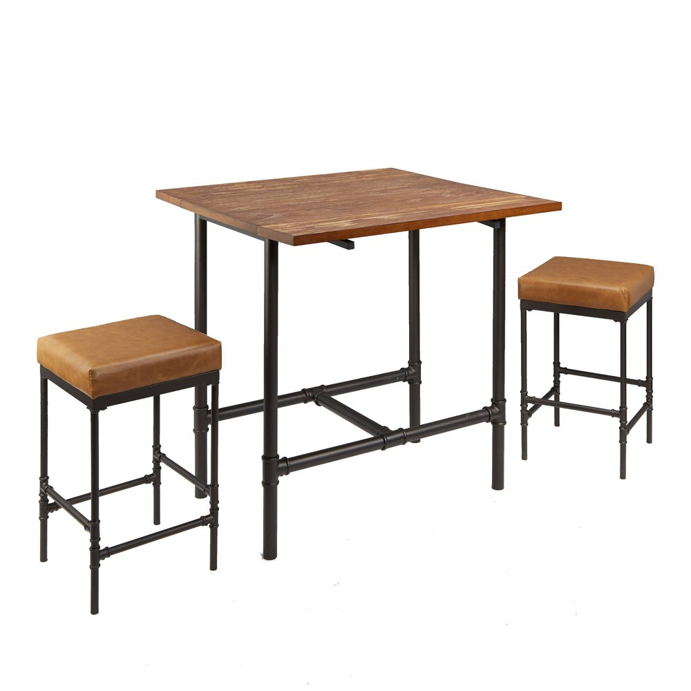Image of 3pc Devlin Pipe Fitting Pub Height Dining Set Cognac - Silverwood, Black Brown