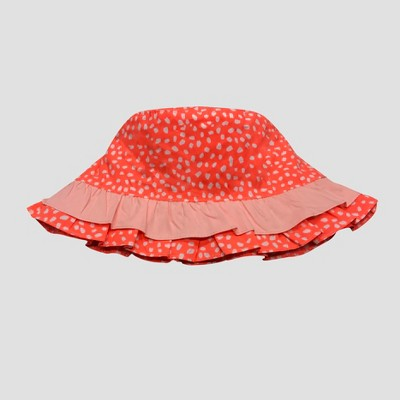 Toddler Girls' Ruffle Bucket Hat - Cat & Jack™ Coral 2T-5T