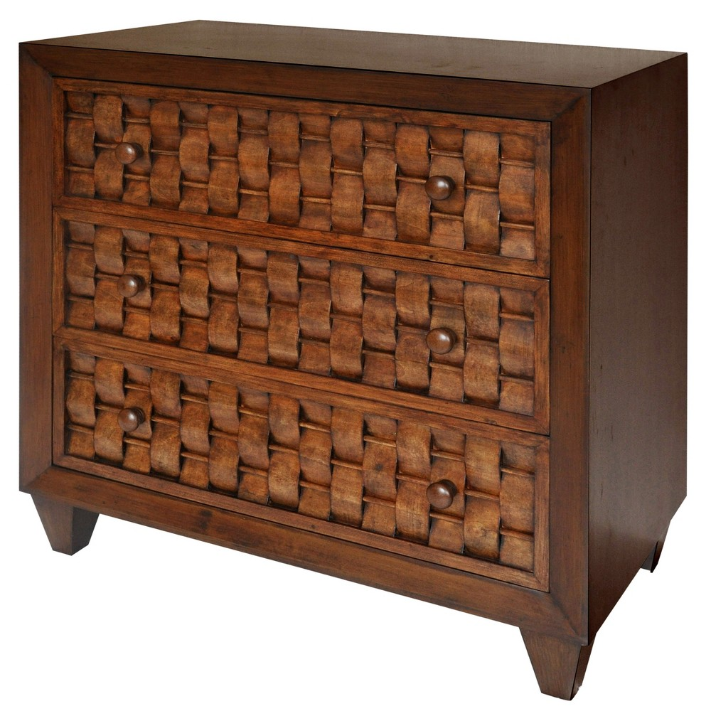 3 Drawer Cabinet with Woven Wood Pattern Front Brown - Stylecraft