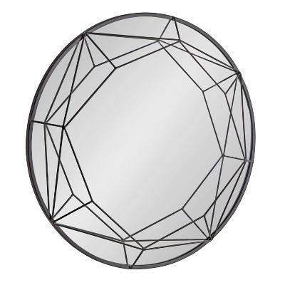 "30"" Keyleigh Round Wall Mirror Black - Kate & Laurel All Things Decor"