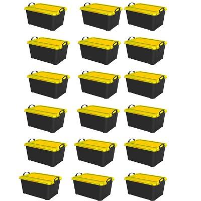 Life Story 55 Quart Plastic Stackable Storage Unit Bin, Black & Yellow (18 Pack)