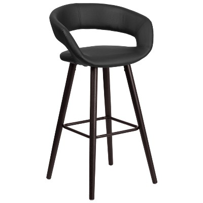 Flash Furniture Brynn Series 29'' High Contemporary Vinyl Rounded Back Barstool with Cappuccino Wood Frame