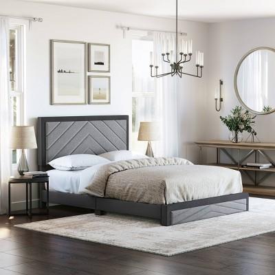Blake Chevron Stitched Upholstered Platform Bed - Eco Dream