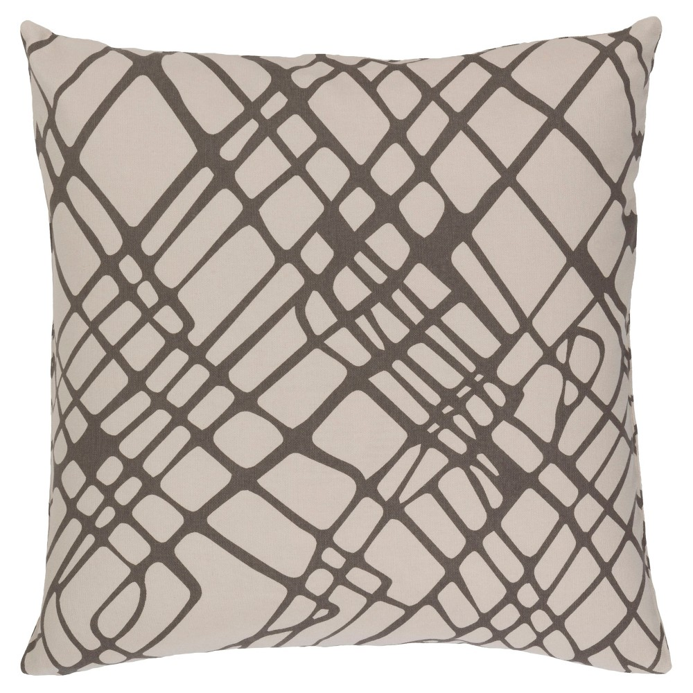Gray Abstract Lines Throw Pillow 22