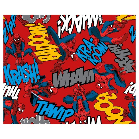 """Marvel Spider-Man Editorial, Red, Fleece, 59/60"""" Width, Fabric by the Yard - image 1 of 1"""