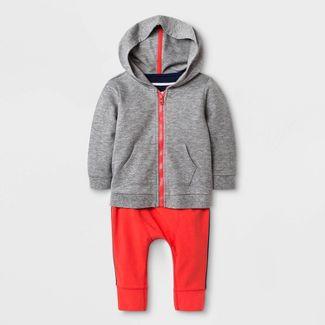 Baby Boys' Hoodie, Bodysuit and Leggings Set - Cat & Jack™ Red/Gray/White 18M
