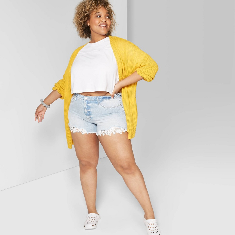 d40ab6f23d Womens Plus Size High Rise Crochet Hem Jean Shorts Wild Fable Light ...