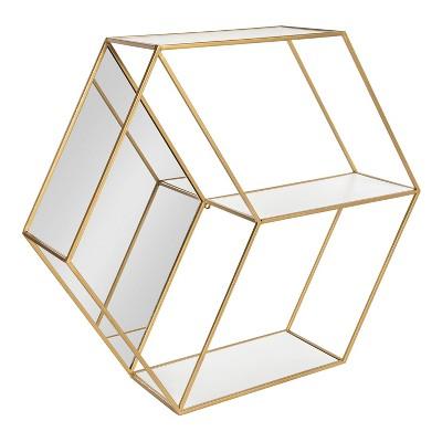 "26"" x 7"" x 23"" Lintz Hexagon Shelves with Mirror - Kate & Laurel All Things Decor"
