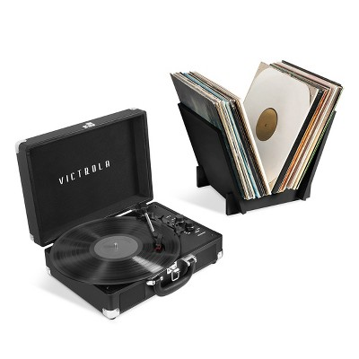 Victrola Journey+ Bluetooth Suitcase Record Player with Matching Record Stand