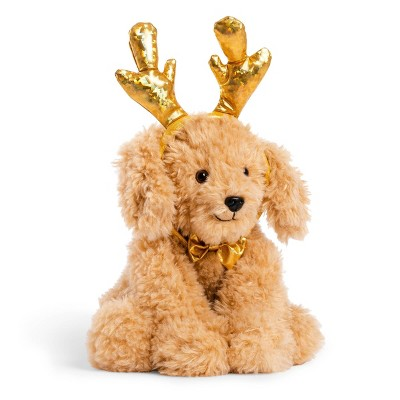 """FAO Schwarz Cheers 4 Antlers Golden Mutt 12"""" Stuffed Animal with Removeable Wear-and-Share Ears"""