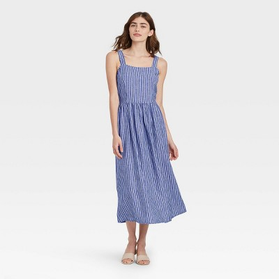 Women's Striped Sleeveless Buckle Back Dress - Who What Wear™