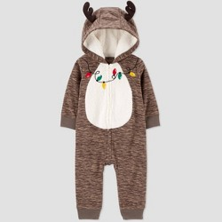 Baby Boys' Reindeer Fleece Hooded Romper - Just One You® made by carter's Brown