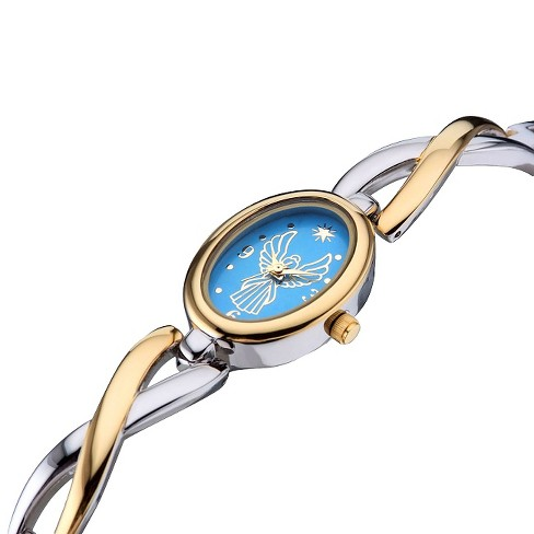 Women's Bangle Bracelet Angel Watch Gold with Blue Dial - Silver / Gold - image 1 of 1