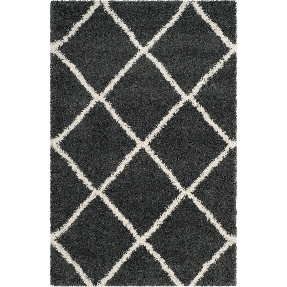 4'X6' Geometric Loomed Area Rug Dark Gray/Ivory - Safavieh
