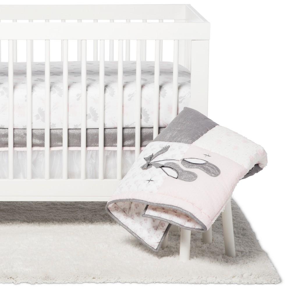 Image of NoJo Crib Bedding Set - Ballerina Bows - 4pc - Gray