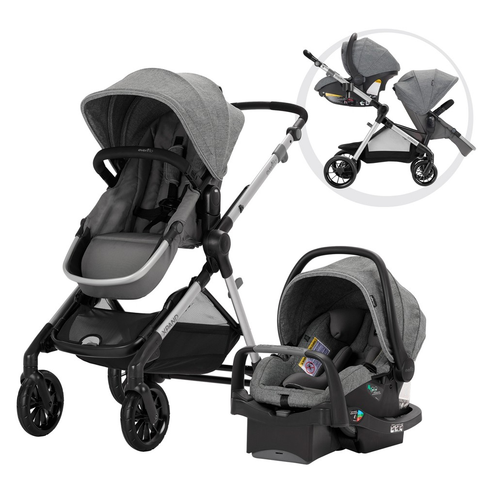 Evenflo Pivot Xpand Modular Travel System with Safemax Infant Car Seat-Percheron