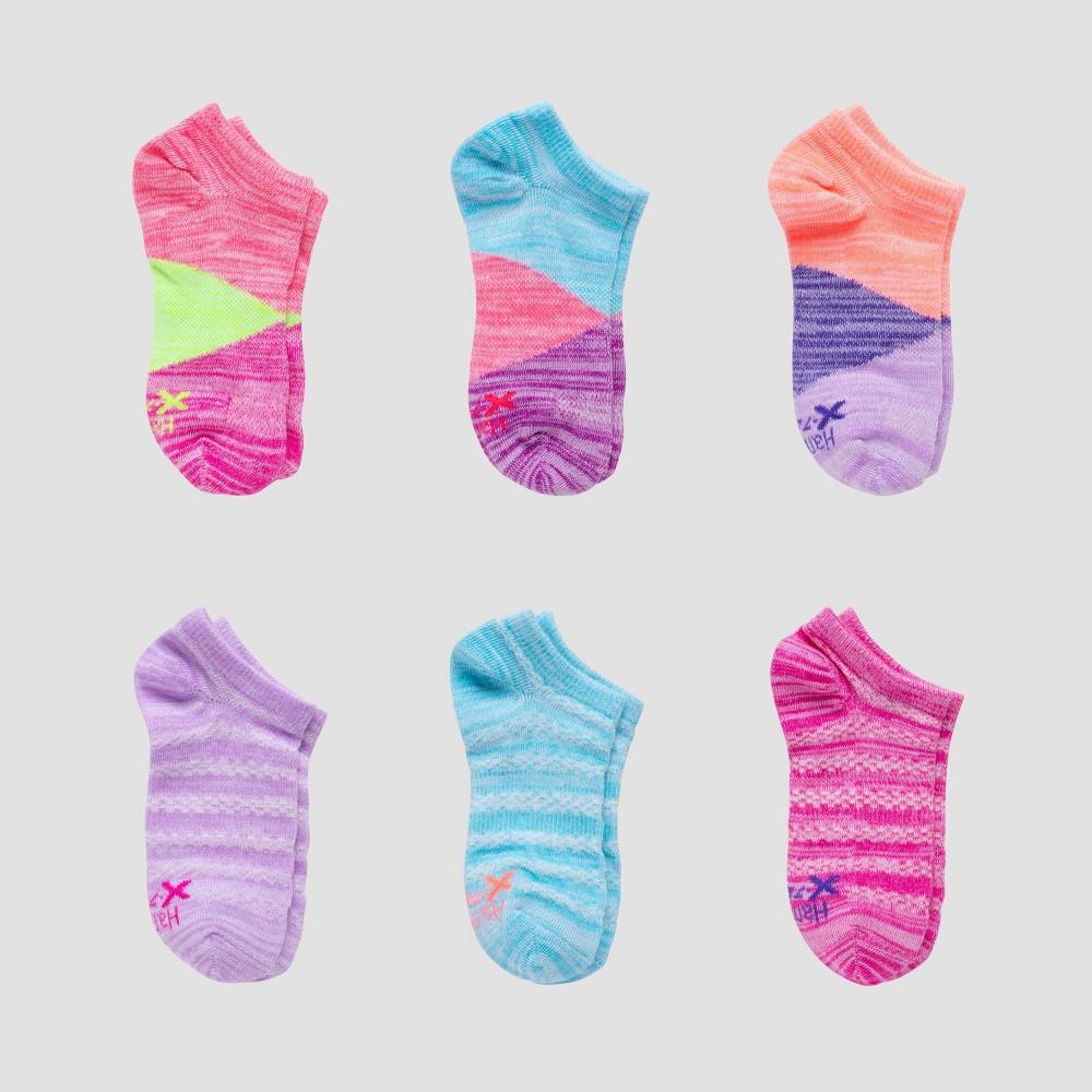 Girls 39 Hanes Premium 6pk Super No Show Socks Colors May Vary Vary L
