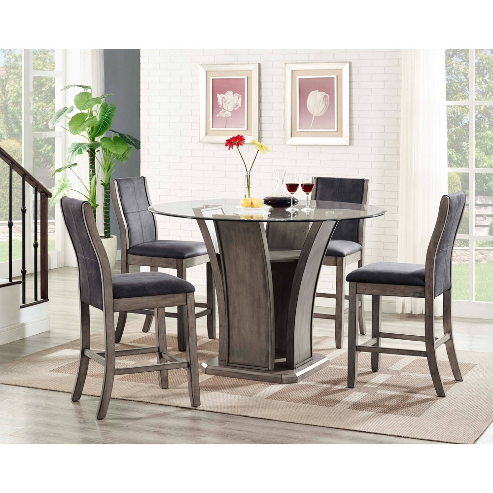 5pc Dylan Round Counter Dining Set Table & 4 Side Chairs Gray Wash - Picket House Furnishings