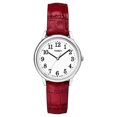 Women's Timex Easy Reader  Watch with Leather Strap - Silver/Red TW2P68700JT
