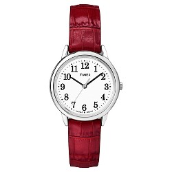 Women's Timex Easy Reader®  Watch with Leather Strap - Silver/Red TW2P68700JT