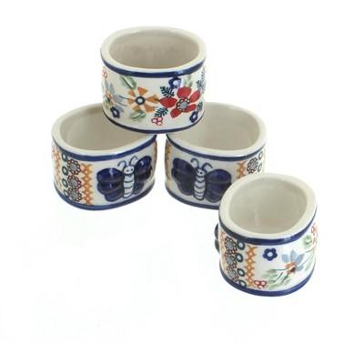 Blue Rose Polish Pottery Red Daisy Napkin Ring Set