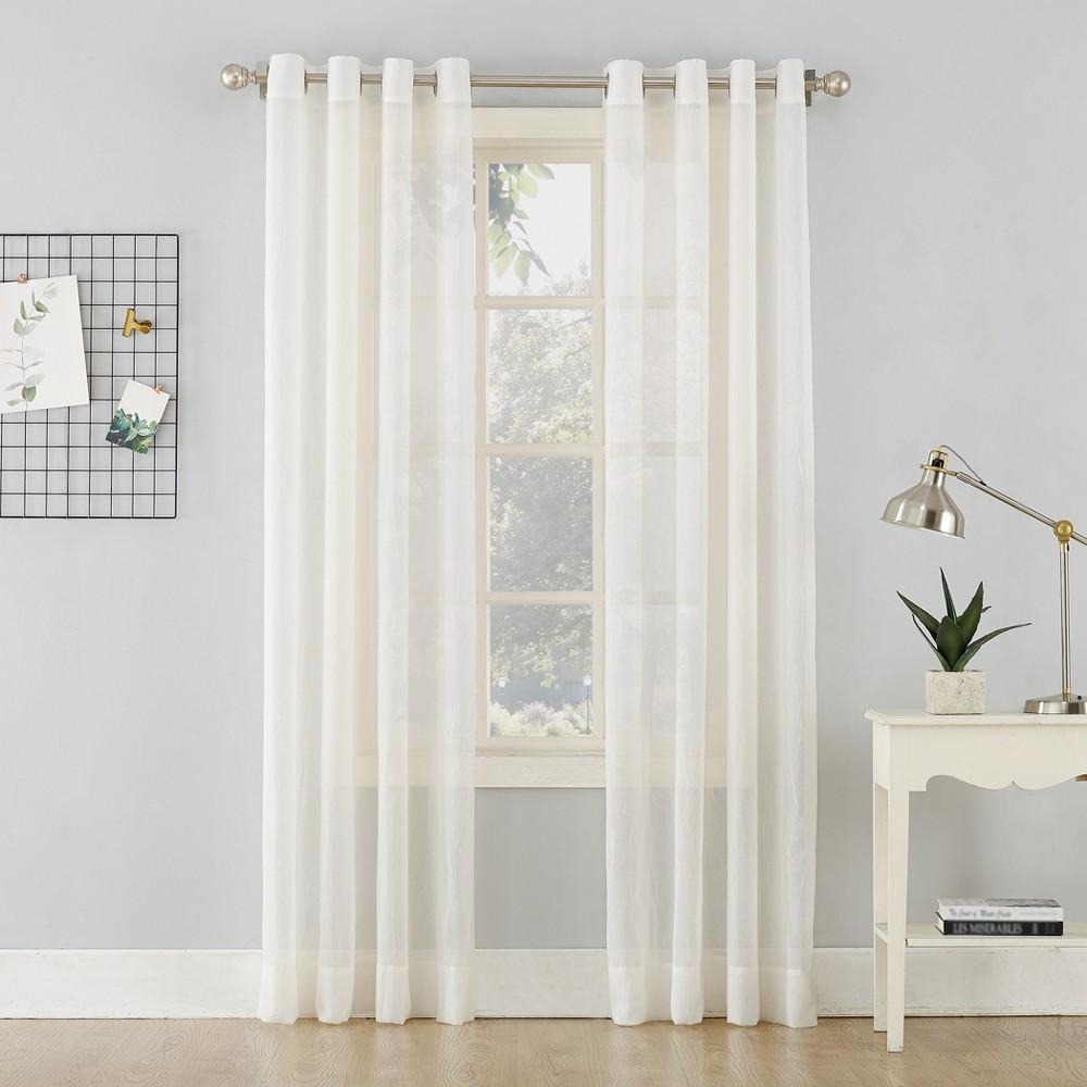 Erica Crushed Sheer Voile Grommet Curtain Panel Eggshell 51