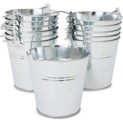 Juvale 12-Pack 5-inch Decorative Galvanized Metal Buckets with Handles 5 x 5 x 4.7 in