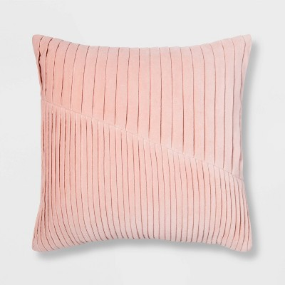 Square Pleated Velvet Pillow Pink - Project 62™
