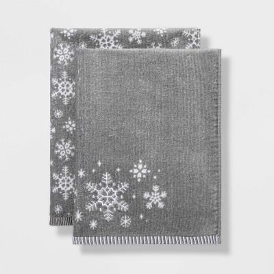 2pk Snowflake Hand Towel Set Gray - Wondershop™