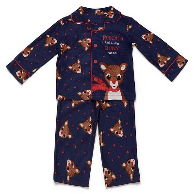 Baby Boys' Rudolph the Red-Nosed Raindeer Pajama Set - Blue 18M