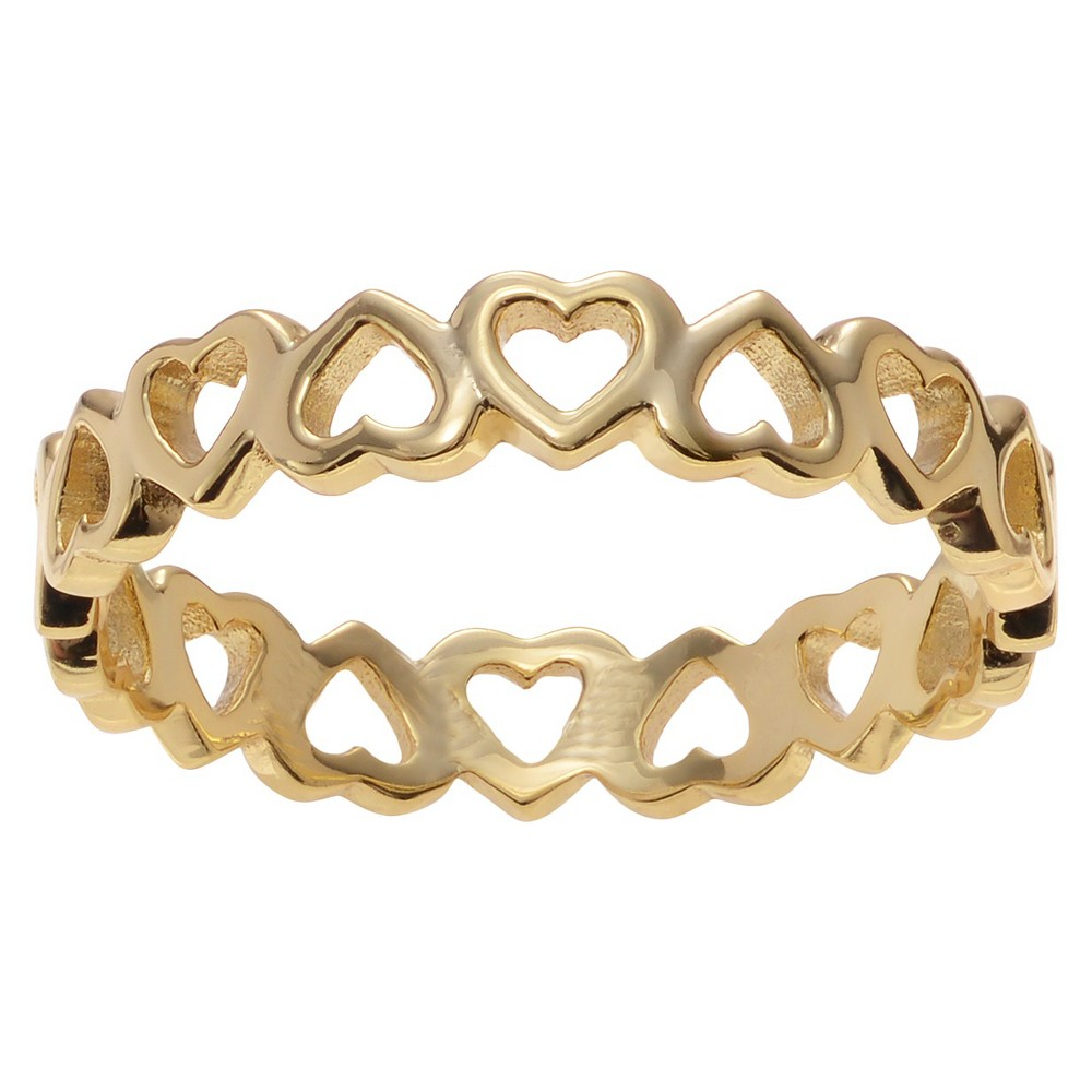 Journee Collection Heart Band in Sterling Silver - Gold, 6, Girl's
