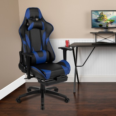 Emma and Oliver Racing Gaming Ergonomic Chair with Reclining Back, Footrest in Red LeatherSoft