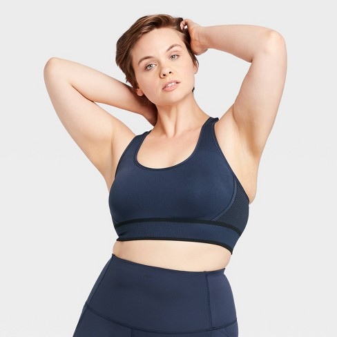Women's Plus Size Medium Support 2-Tone Seamless Racerback Bra - All in Motion™ - image 1 of 4