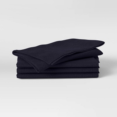 4pk Cotton Easy Care Napkins Dark Blue - Threshold™