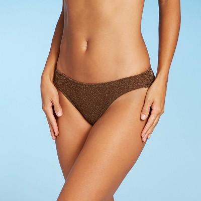 Juniors' Metallic Textured Cheeky Bikini Bottom - Xhilaration™ Coco