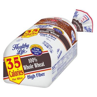 Healthy Life 100% Whole Wheat High Fiber Wheat Bread -16oz