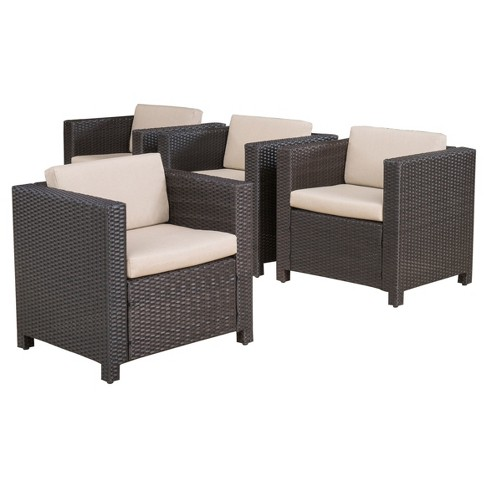 Puerta 4pk All Weather Wicker Patio Club Chairs Christopher Knight Home