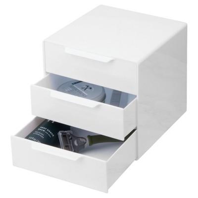 Bathroom 3 Drawer Storage Organizer Cube White   InterDesign : Target