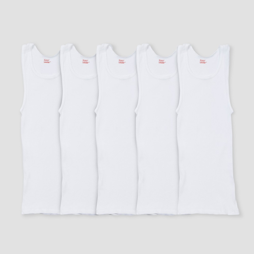 Image of Boys' Hanes White 5-pack Ribbed Tank, Boy's, Size: Large