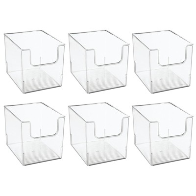 mDesign Closet Plastic Storage Organizer Bin with Open Dip Front, 6 Pack - Clear
