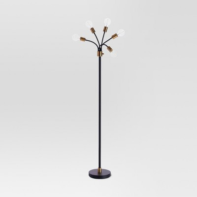 Exposed Bulb Multi-Head Floor Lamp Brass Includes Energy Efficient Light Bulb - Threshold™