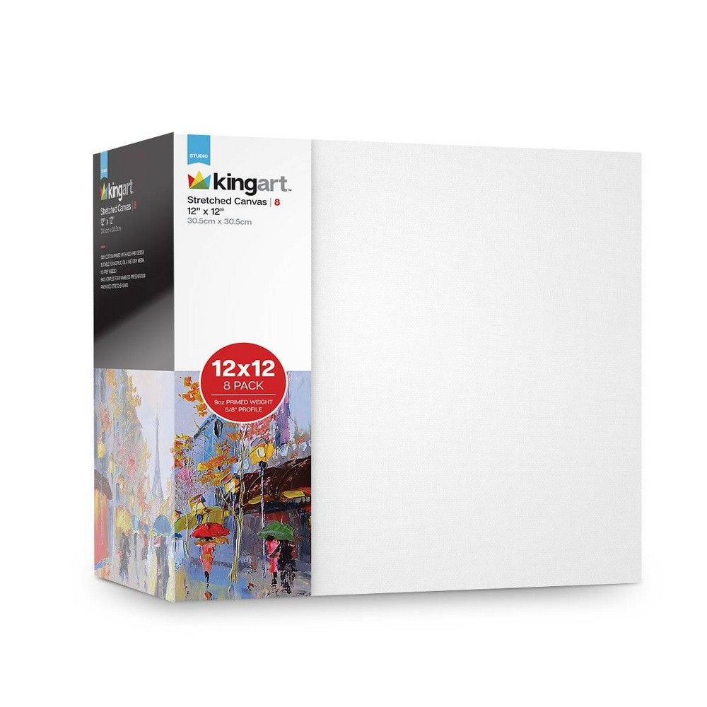 """Image of """"Kingart 12"""""""" x 12"""""""" 8ct Stretched Canvas Value Pack, White"""""""