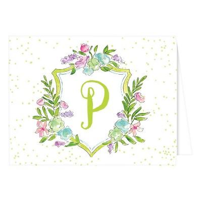 Folded Notes - Vintage Floral Crest Monogram - P