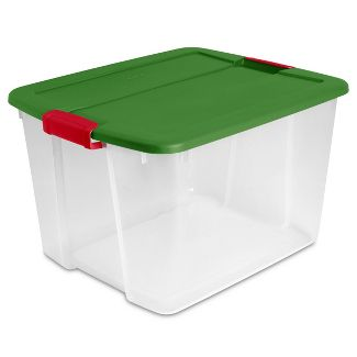 Sterilite 66qt Latching Clear Tote With Green Lid And Red Latches