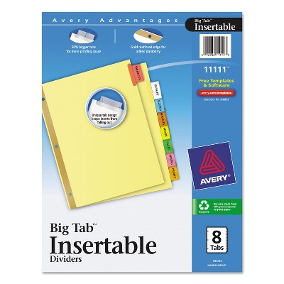 Avery Insertable Big Tab Dividers 8-Tab Letter 11111