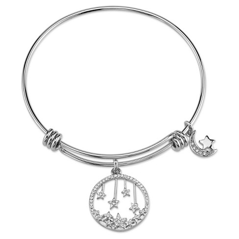 "Women's Stainless Steel Crystal moon expandable bracelet - Silver (8"") - image 1 of 1"
