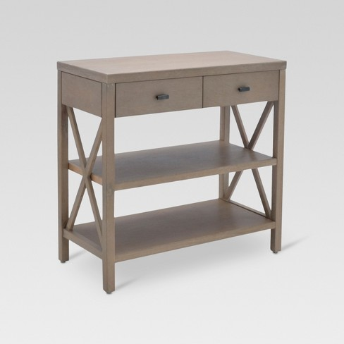 console table with shelves Owings Console Table with 2 Shelves and Drawers Rustic   Threshold  console table with shelves